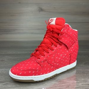 Red Nike Sky Hi High Dunks sneakers shoes